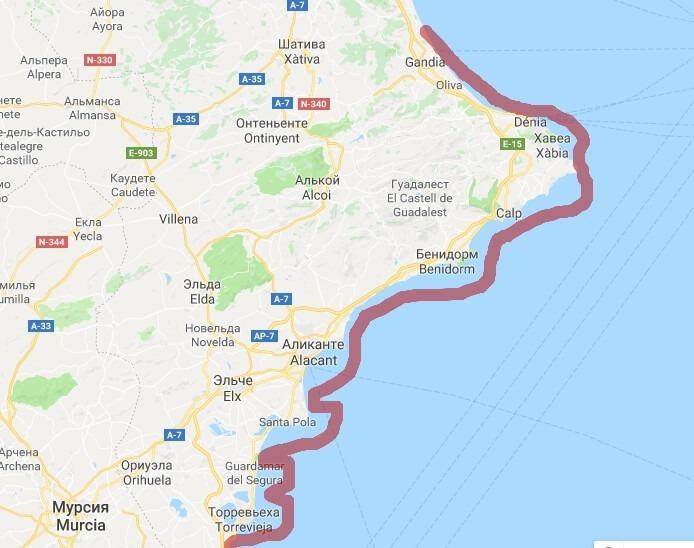 Коста Бланка на карте Испании - фото