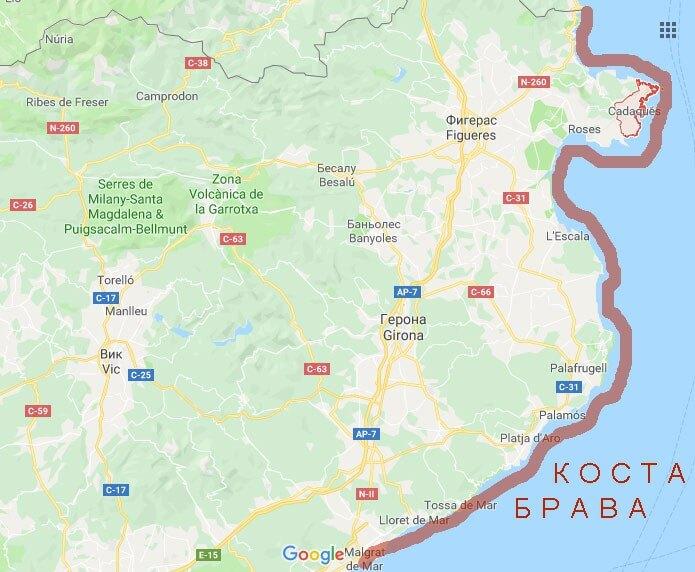 Побережье Коста Брава на карте Испании