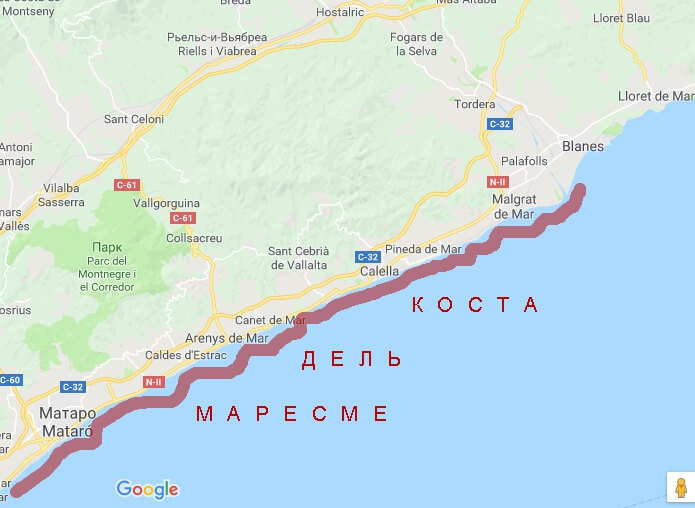 Побережье Коста Маресме на карте - фото