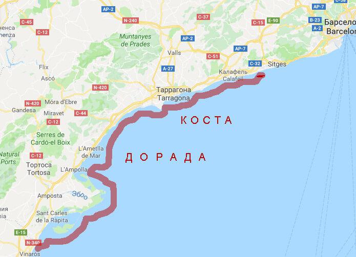 Коста Дорада на карте - фото