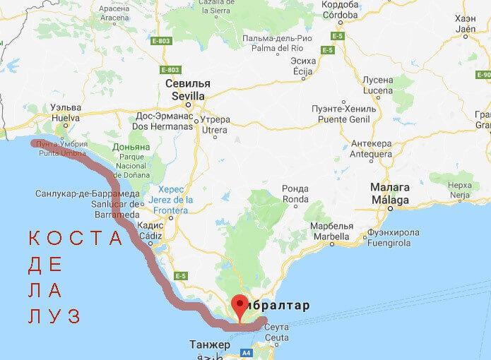 Расположение побережья Коста Луз на карте