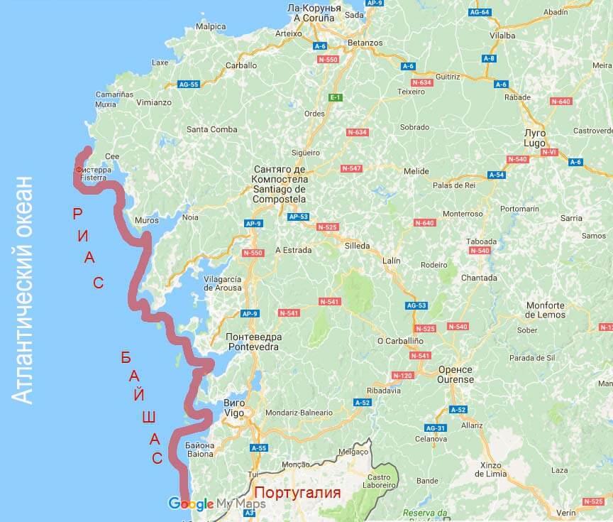 Карта Риас Байшас