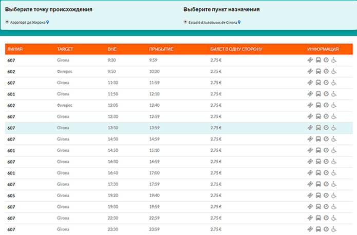 Расписание автобусов из аэропорта в город Жирона