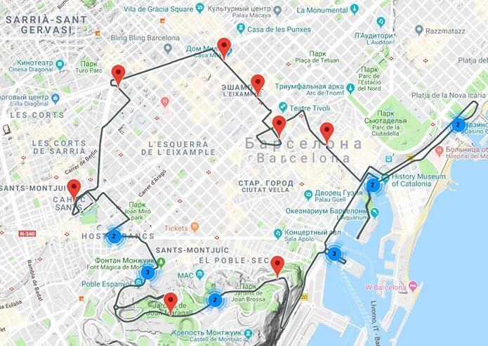 Красный маршрут на карте