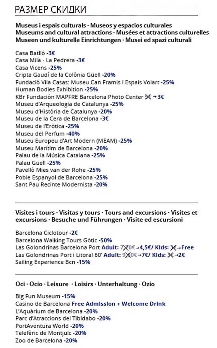 Размер скидки по Барселона Кард - скриншот