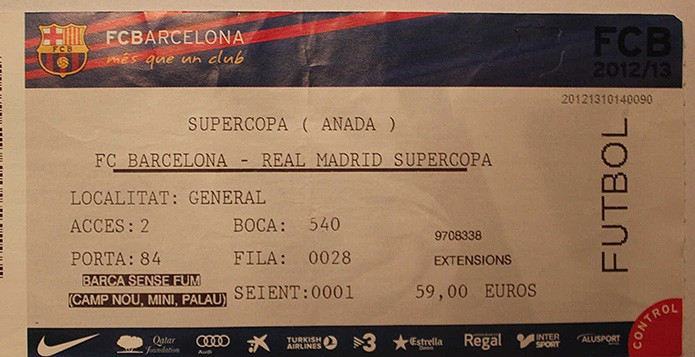 Билет на матч Барселоны - фото