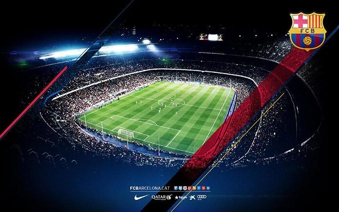 Футбольное поле стадиона Камп Ноу - фото