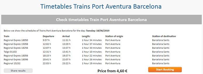 Расписание поездов из Порт Авентура в Барселону - скриншот