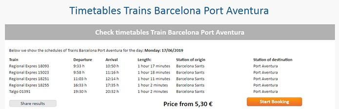 Расписание поездов из Барселоны в Порт Авентура - скриншот