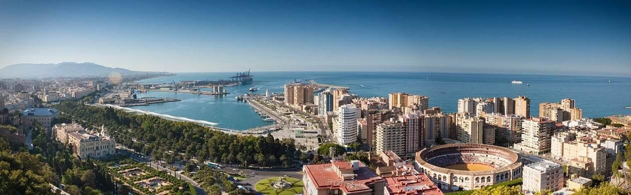 Город Малага - фото сверху