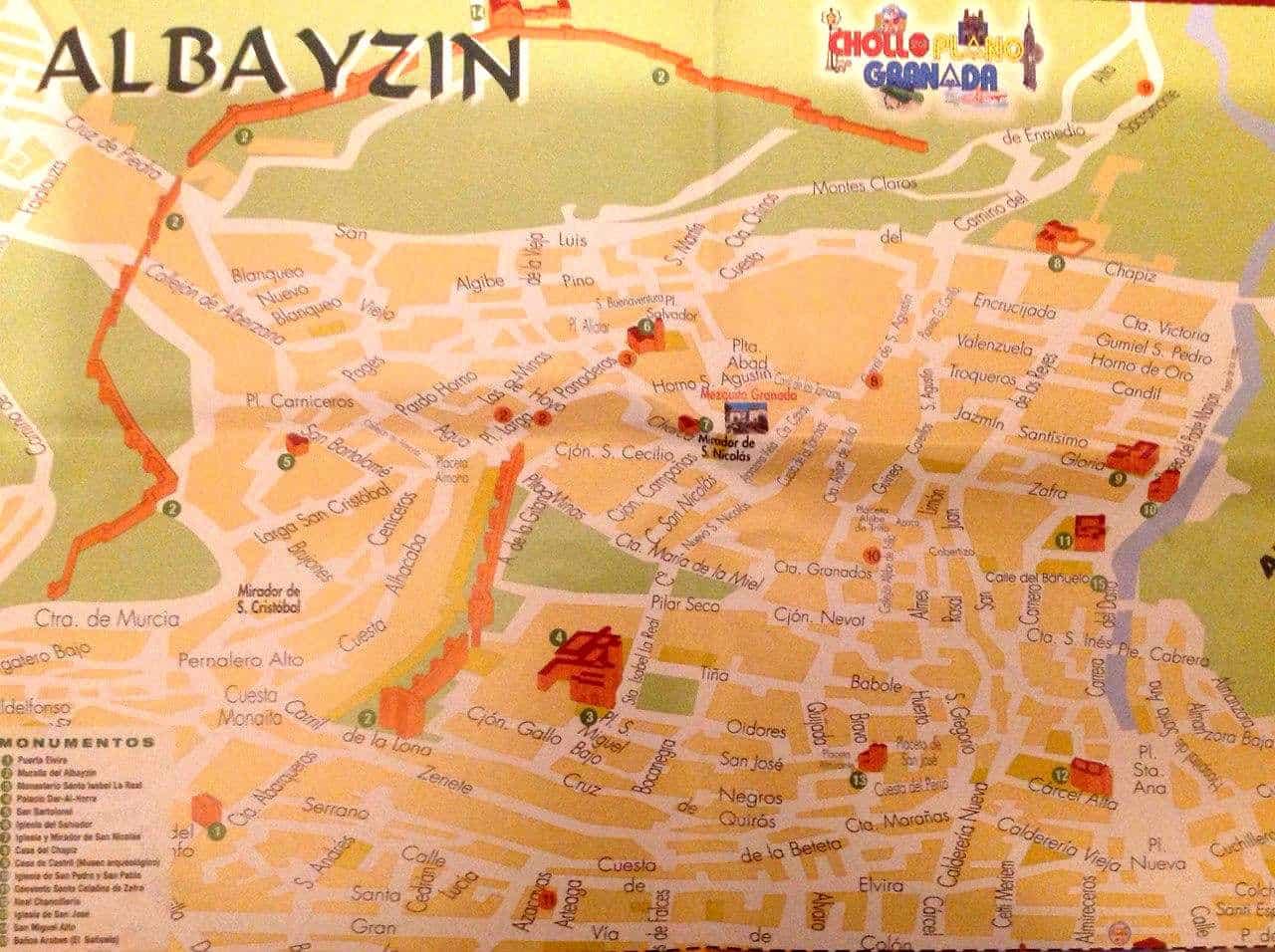 Схема квартала Альбайсин - фото